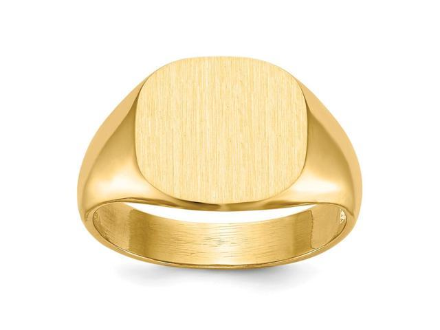 14k Yellow Gold Engravable Men's Signet Ring (12.5mm x 13mm face)