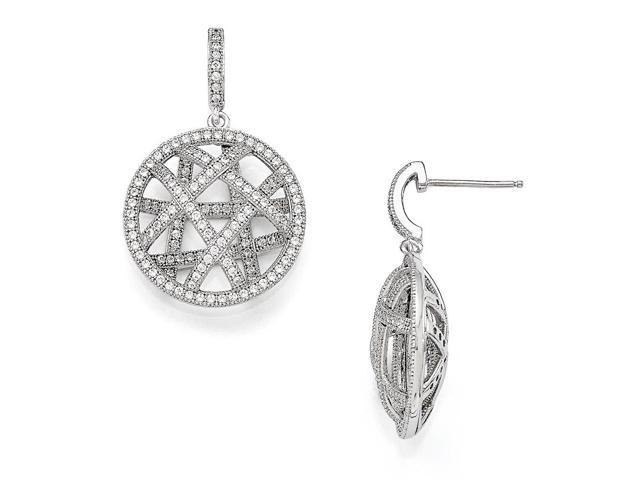 Sterling Silver Rhodium Plated & Synthetic CZ Brilliant Embers Polished Dangle Post Earrings (1IN x 0.7IN )