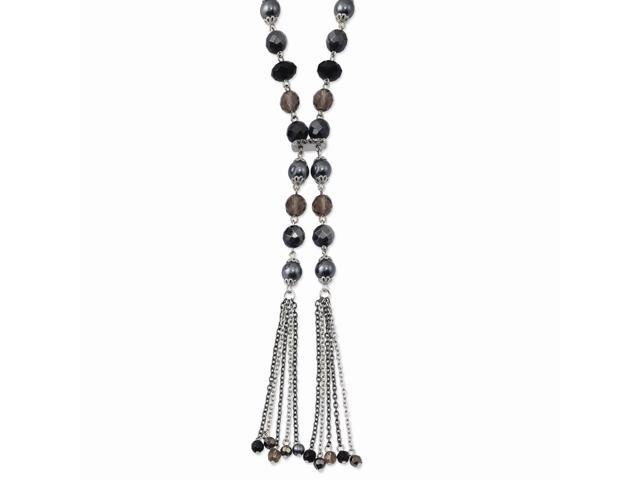Silvertone Black, Silver & Hematite Crystals 28in Y Necklace