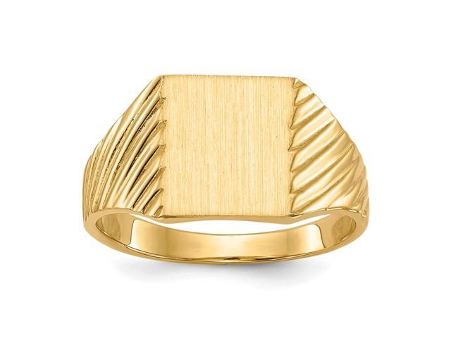 14k Yellow Gold Engravable Signet Ring (9.9mm x 8.6mm face)
