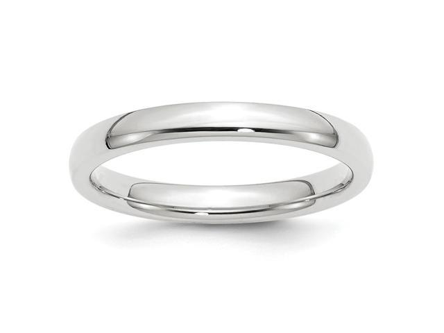 14k White Gold Engravable 3mm Comfort-Fit Band