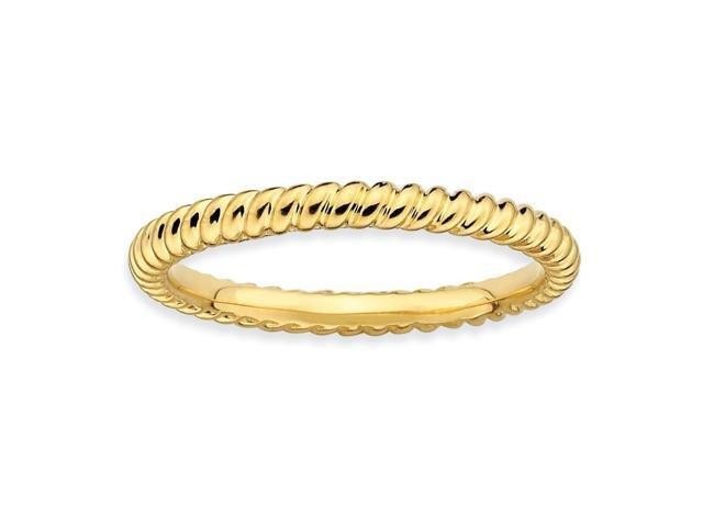 Missing You Silver Stackable 18k Gold-Plated Twisted Ring
