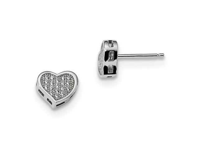 Sterling Silver Rhodium Plated & Synthetic CZ Embers Heart Post Earrings (9MM Long x 7MM Wide)