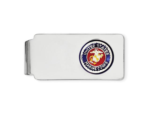 Sterling Silver U.S. Marine Corp Engravable Money Clip, blue border & Gold-tone anchor