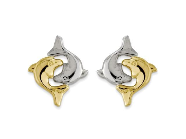 14k Yellow Gold Childs & Rhodium Plated Dolphin Post Earrings w/ Gift Box (0.5IN x 0.5IN )