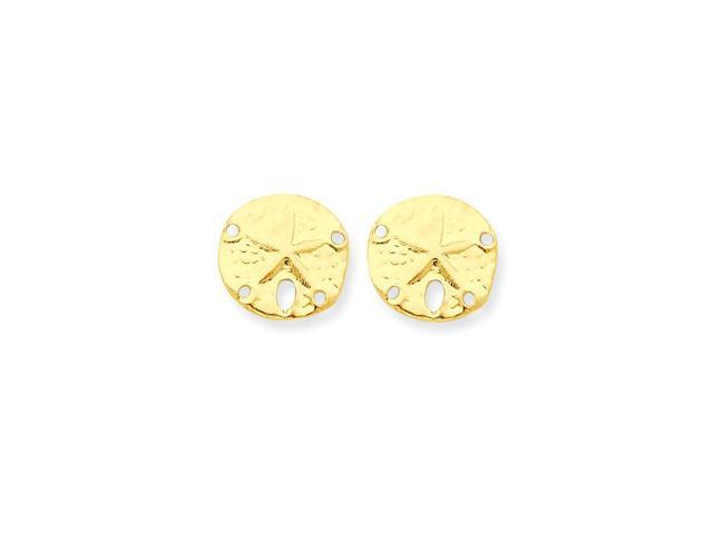 14k Yellow Gold Childs Sand Dollar Post Earrings w/ Gift Box (0.4IN x 0.3IN )