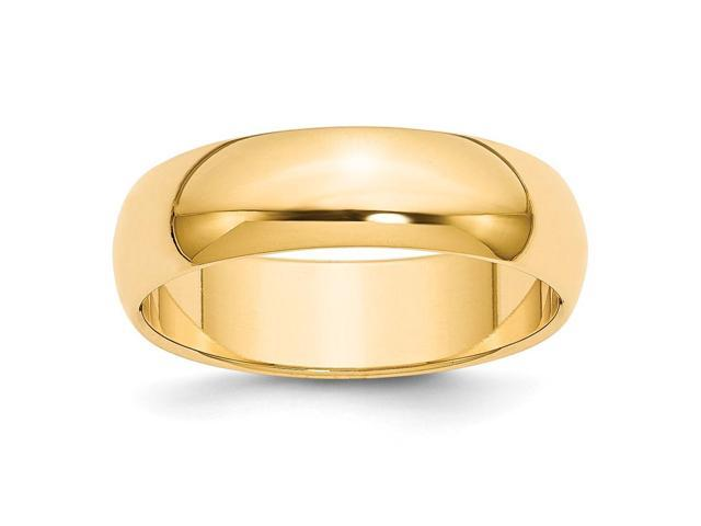 14k Yellow Gold Engravable 6mm Half-Round Wedding Band