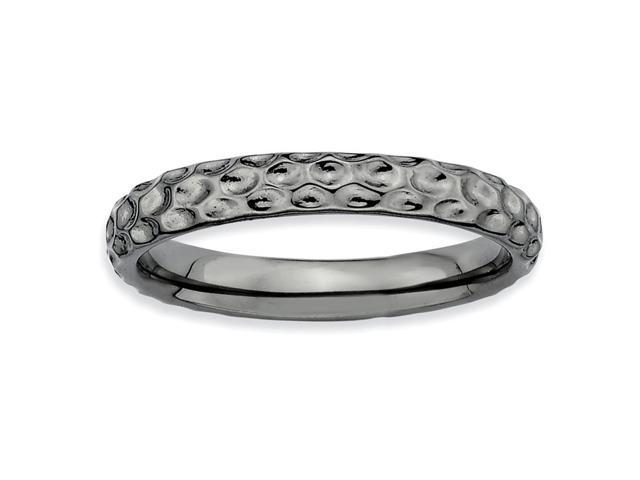Certainly Heartfelt Silver Stackable Black Ring