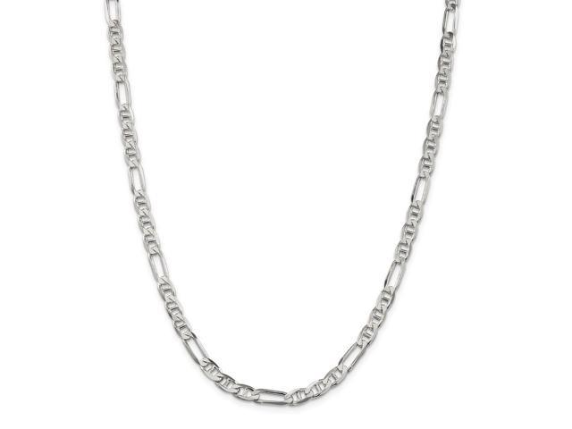 Sterling Silver 24in 5.50mm Figaro Anchor Necklace Chain