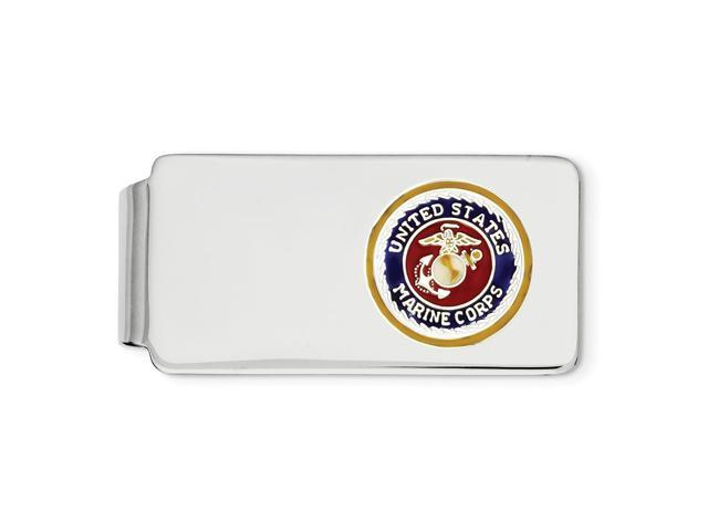 Sterling Silver U.S. Marine Corp Engravable Money Clip w/ 14k Gold-Plated border, silver anchor