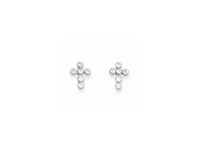 14k White Gold Childs Synthetic CZ Cross Post Earrings w/ Gift Box (9MM Long x 7MM Wide)