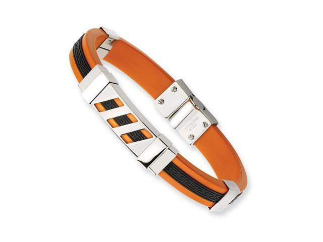 Stainless Steel Black and Orange Rubber Bracelet (8in long)
