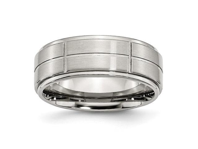 Stainless Steel Grooved 8mm Satin and Polished Engravable Band