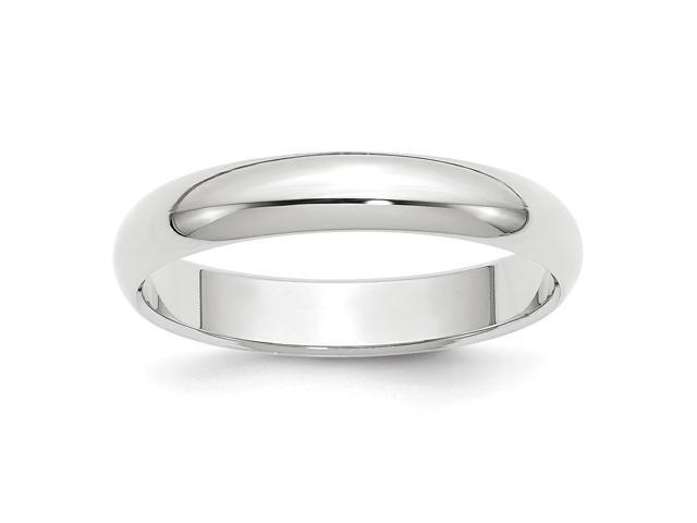 14k White Gold Engravable 4mm Half-Round Band