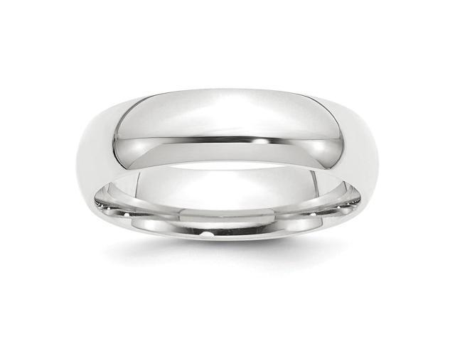 950 Platinum 6mm Half-Round Comfort Fit Lightweight Engravable Band