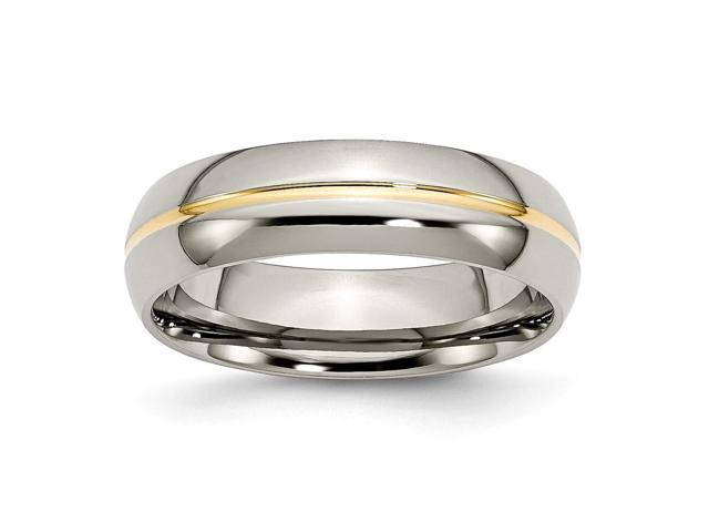 Titanium 14k Gold Plated 6mm Polished Engravable Band