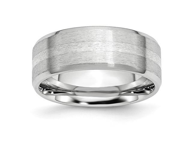 Cobalt Chromium Sterling Silver Engravable Inlay Satin/Polish 8mm Band.