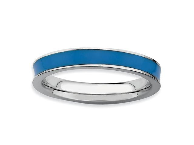 Alluring 925 Sterling Silver Rhodium Plated Stackable Blue Enamel Ring Band