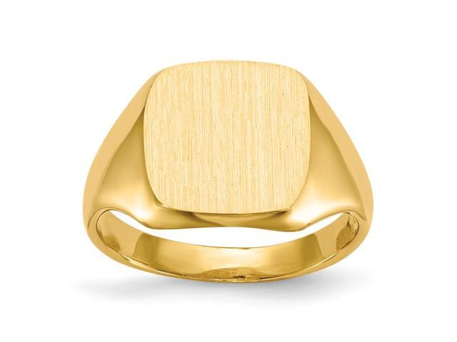 14k Yellow Gold Engravable Signet Ring (10.7mm x 10.2mm face)