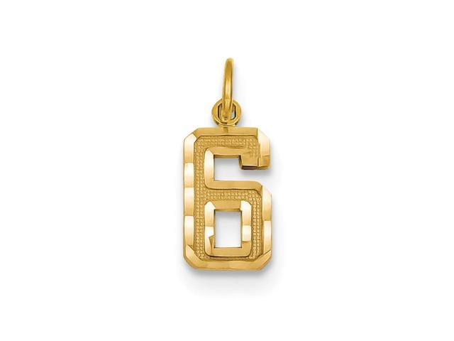 14k Yellow Gold Casted Small D/C Number 6 Charm Pendant