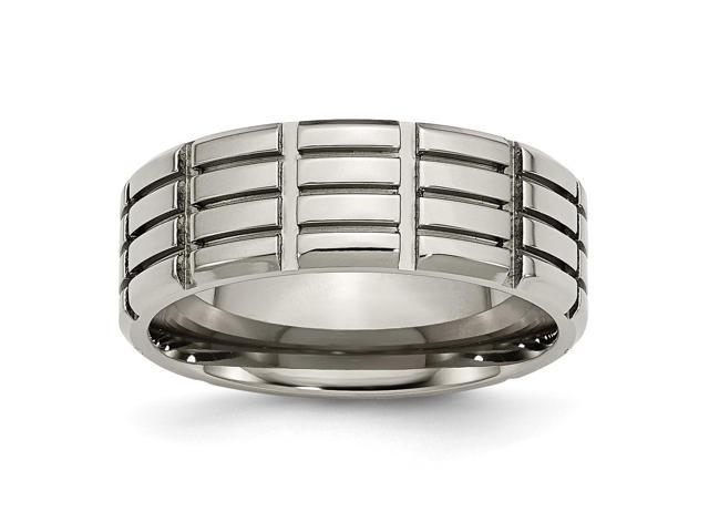 Titanium 8mm Grooved Engravable Band