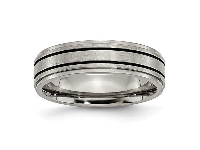 Titanium Enameled Flat 6mm Satin & Polished Engravable Band