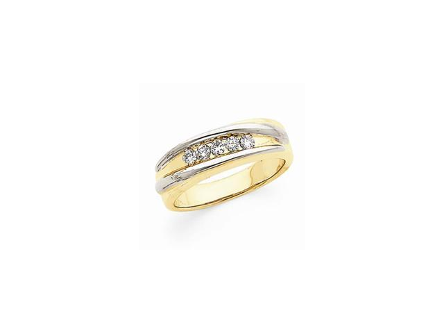 14k Two-Tone Gold Fine Diamond Men's Band (Color H-I, Clarity SI2-I1)