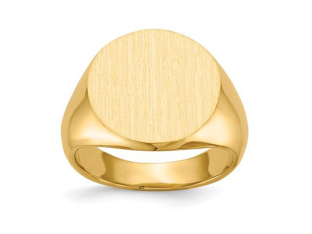 14k Yellow Gold Engravable Signet Ring (15.3mm x 15.5mm face)