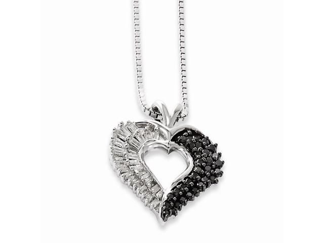 Sterling Silver Black and White Diamond Heart Pendant. Total Carat Wt- 0.521ct.