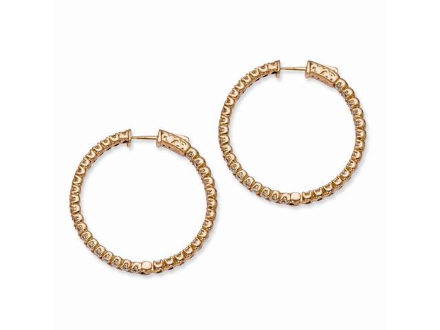 Sterling Silver 14k Rose Gold-Plated with Synthetic CZ Round 1.2IN Hoop Earrings (1.3IN x 1.3IN )