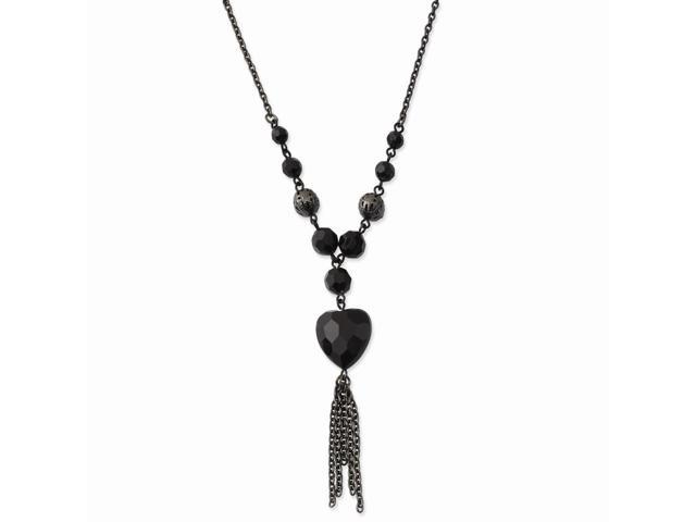 Black-plated Black Crystal Heart Y Necklace
