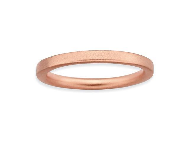 Romantic Sterling Silver and 18k Rose Gold-Plated Stackable Pink Satin Ring Band