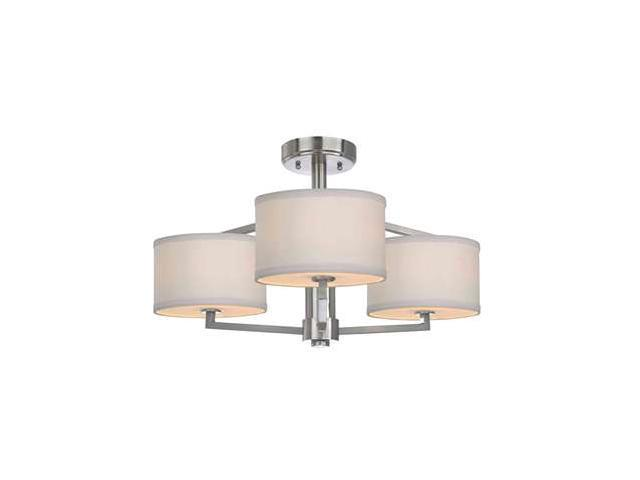 Dolan Designs Monaco 3 Light Semi-Flush in Satin Nickel - 1885-09