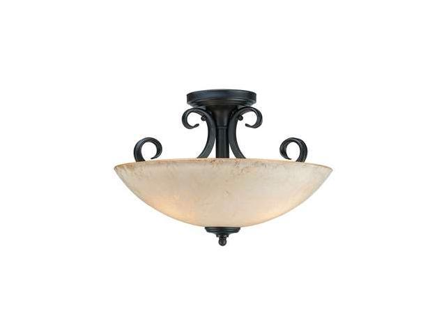 Forte Lighting 3 Light Semi Flush Mount in Bordeaux - 2350-03-64