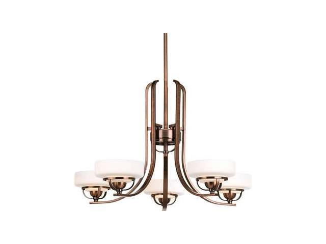 Progress Torque 5-Light Chandelier Opal Etched Glass Copper Bronze - P4692-124WB