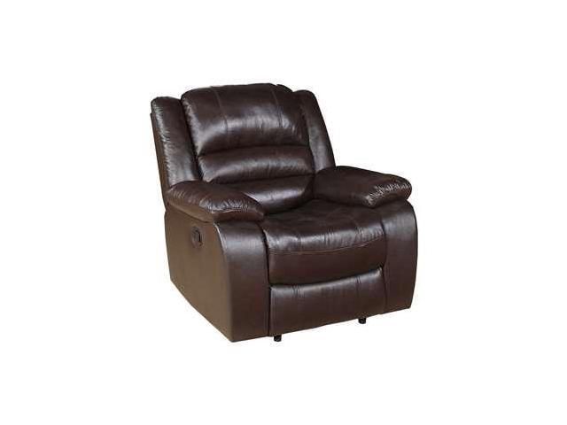 Contemporary Brown Leather Recliner and Ottoman with Leather Wrapped Base By Flash Furniture