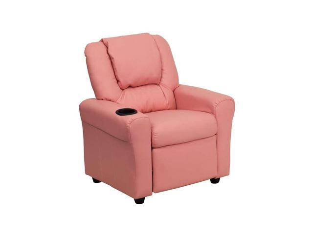 Contemporary Pink Vinyl Kids Recliner with Cup Holder and Headrest [DG-ULT-KID-PINK-GG]