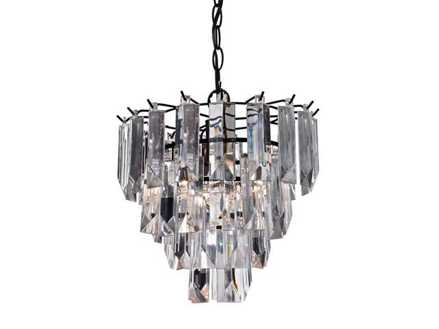 Sterling Industries Glass Fringe Pendant, Dark Bronze With Clear Acrylic, Dark Bronze With Clear Acrylic - 122-017