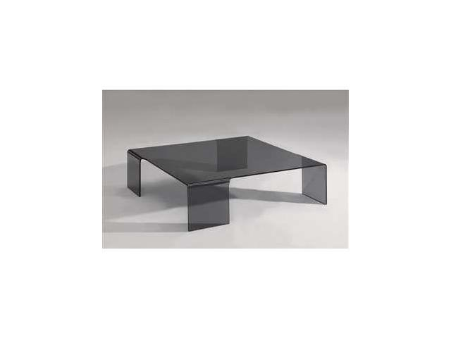 Chintaly Imports Square Bent Cocktail Table, Smoke Glass - 7260-CT