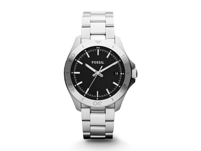 Fossil Men's Retro Traveler AM4441 Silver Stainless-Steel Analog Quartz Watch with Black Dial
