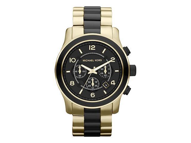 Michael Kors Runway  Chronograph Black Gold Tone Mens Watch MK8265