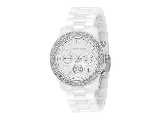 Michael Kors White Dial Ceramic Strap with Glitz Watch MK5188