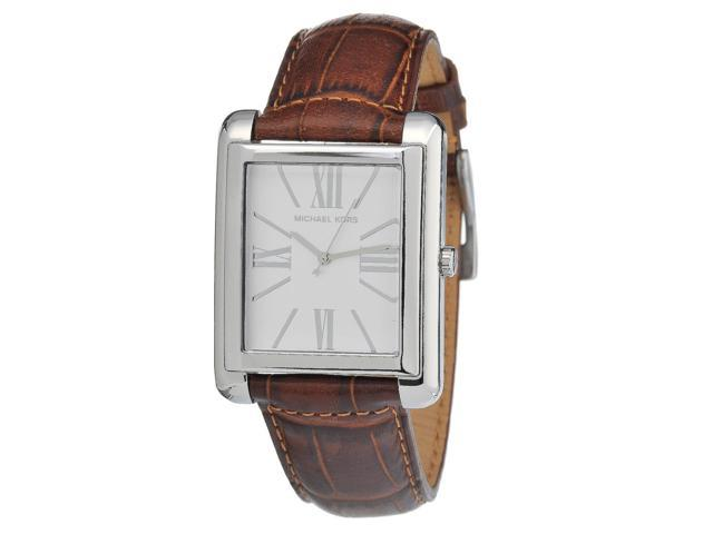 Michael Kors Brown Leather Silver Dial Womens Watch MK2244