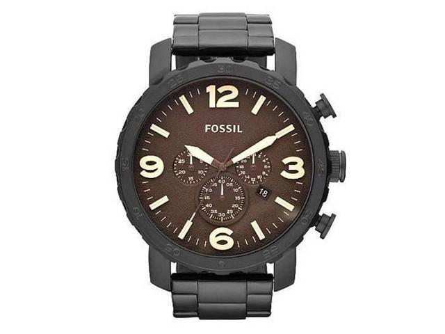 Fossil Nate Chronograph Black Ion-plated Mens Watch JR1356