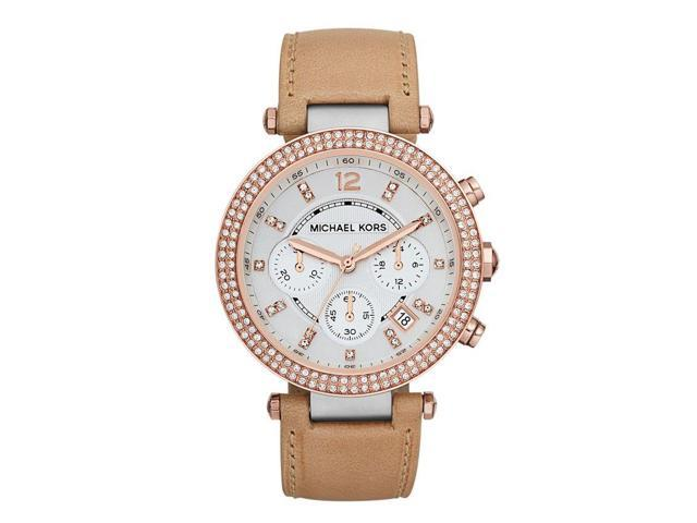 Michael Kors Parker Chronograph Tan Leather Womens Watch MK5633