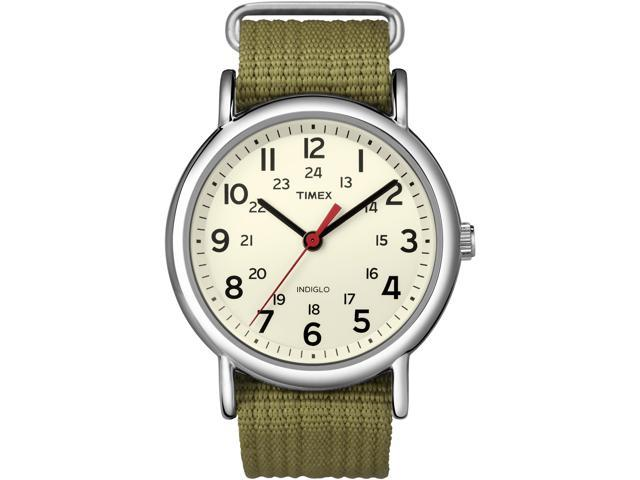 Timex Men's Weekender T2N651 Green Nylon Analog Quartz Watch with White Dial