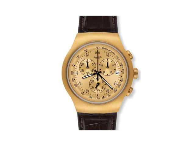 Swatch Chronograph Golden Hide Brown Leather Mens Watch YOG402