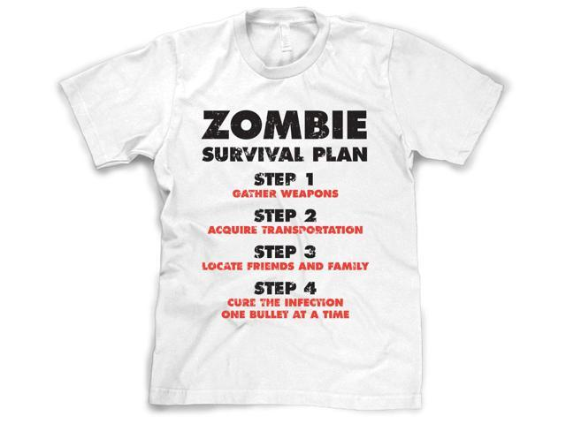 Youth Zombie Survival Plan T Shirt Funny Zombie Attack Shirts for kids (White) L
