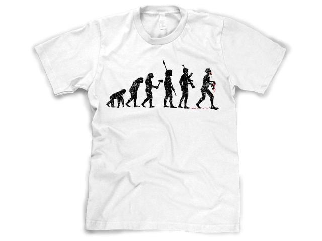 Zombie evolution T Shirt Funny Evolution of Man Walking Dead Shirt (White) S