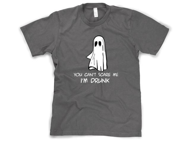 You Can't Scare Me I'm Drunk Funny Ghost Halloween T-Shirt Sarcastic (Grey) XXL